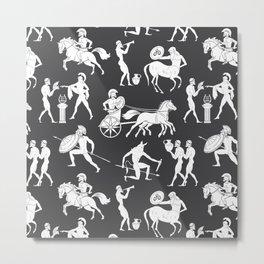 Greek Figures // Dark Grey Metal Print