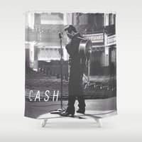 johnny cash Shower Curtains featuring Johnny Cash by Earl of Grey