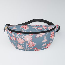 Red-Pink Flower Pattern Fanny Pack