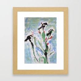 Black Birds Perched Framed Art Print