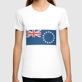 Flag of Cook Islands. The slit in the paper with shadows. T-shirt