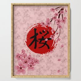 Blooming Sakura branches and red Sun Serving Tray