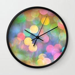 Rainbow Bokeh I Wall Clock