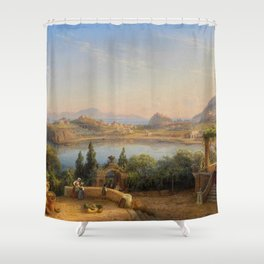 Port of Ischia, Italy by Eduard Agricola Shower Curtain