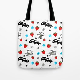 Skunk, Flowers, and Strawberry Pattern Cute Quirky Whimsical Tote Bag