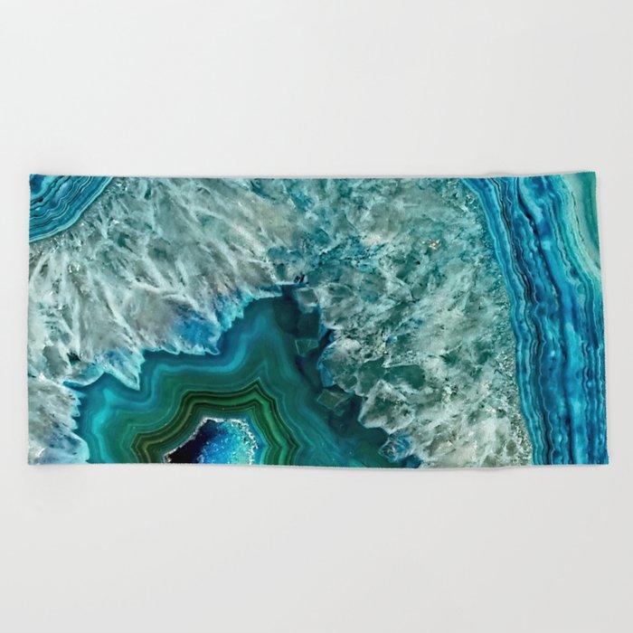 Aqua turquoise agate mineral gem stone Beach Towel