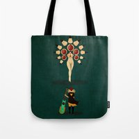 transistor Tote Bags featuring Red vs Young Lady by Llamasaurus
