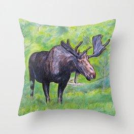 Maine Moose Throw Pillow