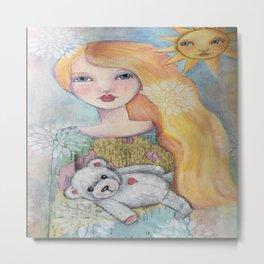 Sweet girl with bear Metal Print