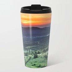 Beautiful sunset behind green fields Metal Travel Mug