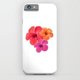 Red Orange Pink Hibiscus iPhone Case