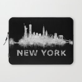 new york nyc city cityscape watercolor white v6 Laptop Sleeve