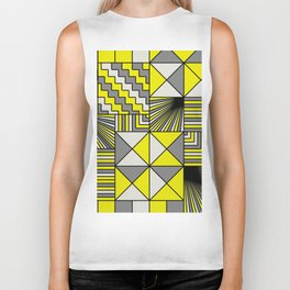 Mosaic Scandinavian Pattern - Yellow, Charcoal and white Biker Tank