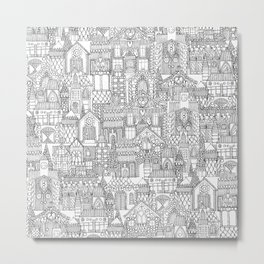 gingerbread town black white Metal Print