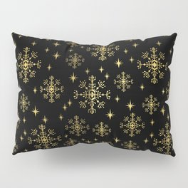 Gold and black snowflakes winter minimal modern painted abstract painting minimalist decor nursery Pillow Sham