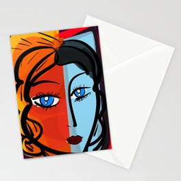 Red Blue Pop Girl Portrait Expressionist Art Stationery Cards