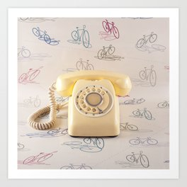 The yellow retro telephone  Art Print