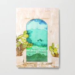 Wavy Summery Blue Door - For Doors & Travel Lovers Metal Print