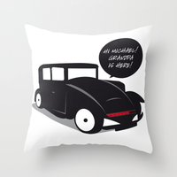 kit king Throw Pillows featuring Grandpa kit by pludadesign