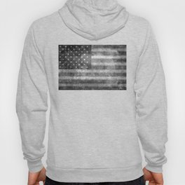 Black and White USA Flag in Grunge Hoody