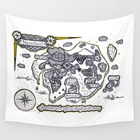 neverland Wall Tapestries featuring Neverland Illustration  by Mark Karwowski