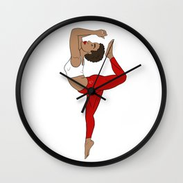 Stretch to higher self Red Kemetic Yoga Wall Clock