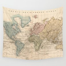 Vintage Map of The World (1823) 2 Wall Tapestry
