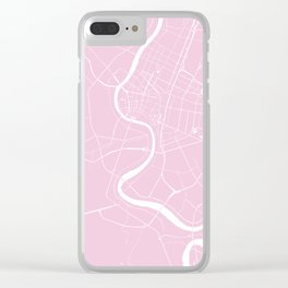 Bangkok Thailand Minimal Street Map - Pastel Pink and White Clear iPhone Case