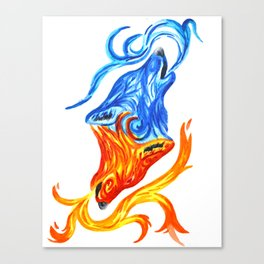 Fire and Water Wolves Canvas Print