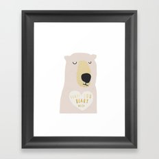 i LOVE YOU BEARY MUCH WITH TEXT Framed Art Print