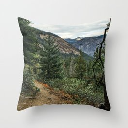 Cascade Range, Washington Hiking Trail Throw Pillow