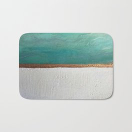 Northern Lights (teal)  Encaustic Painting Bath Mat
