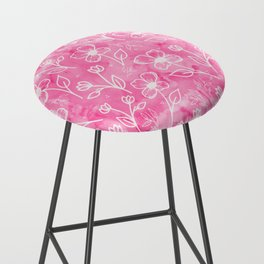 11 Small Flowers on Pink Watercolor Bar Stool