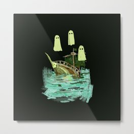 ghost pirate boat Metal Print
