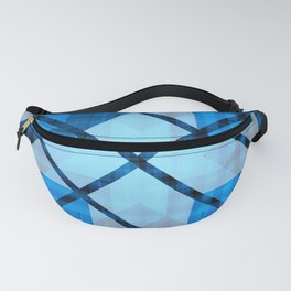 Abstract Geometric Blue Plaid Design Fanny Pack