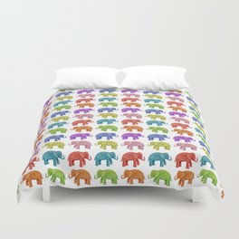 Colorful Parade of Elephants in Red, Orange, Yellow, Green, Blue, Purple and Pink Duvet Cover