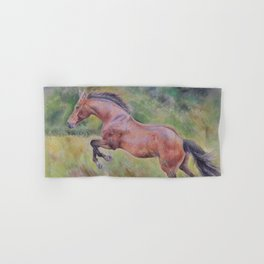 A brown horse jumping on a green meadow Pastel drawing Animal Art in the landscape Hand & Bath Towel