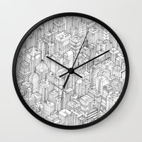 city Wall Clocks featuring Isometric Urbanism pt.1 by Herds of Birds