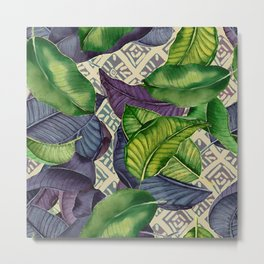 Banana Leaves on Mudcloth green,tan Metal Print