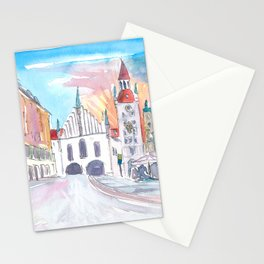 Munich Bavaria Marienplatz View of Old City Hall and St. Peter Stationery Cards