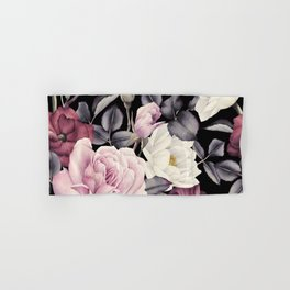 Pinky purple Medley of Roses, Peony and Leaves Hand & Bath Towel