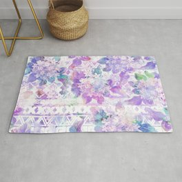 Lavender lilac pink white watercolor aztec floral Rug