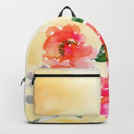 three red peonies, yellow background Backpack