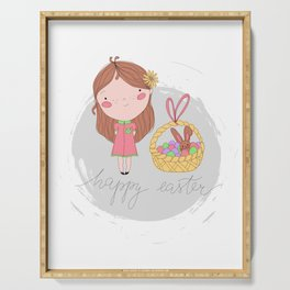 Happy Easter Girl with a Basket Art Serving Tray