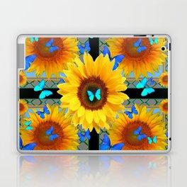 BLUE BUTTERFLIES SUNFLOWER  COLLAGE Laptop & iPad Skin