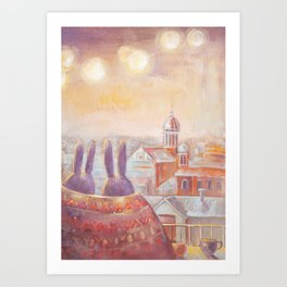 Two Rabbits in Rome Art Print