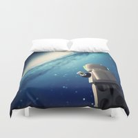 neil gaiman Duvet Covers featuring Neil in the galaxy by Salvatore Rotolo