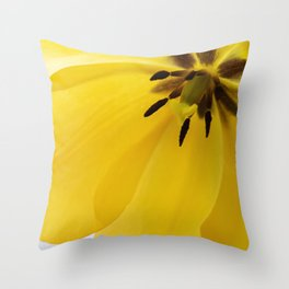 Macro shot of yellow tulip in a vase. Throw Pillow