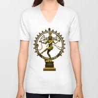 shiva V-neck T-shirts featuring Shiva Nataraja by Alice9
