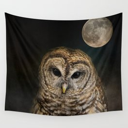 Barred Owl and the Moon Wall Tapestry